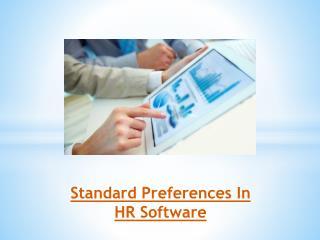 Standard Preferences In HR Software