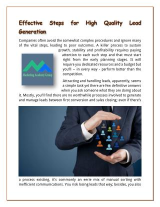Effective Steps for High Quality Lead Generation