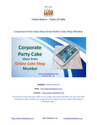 Corporate Party Cake Ideas from Online Cake Shop Mumbai