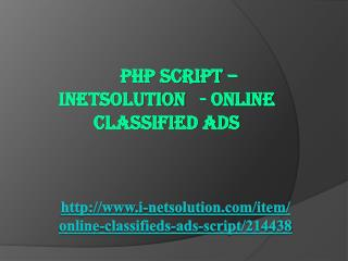PHP Script – INETSOLUTION - Online Classified Ads