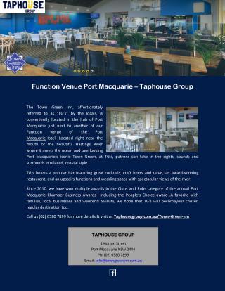 Function Venue Port Macquarie – Taphouse Group