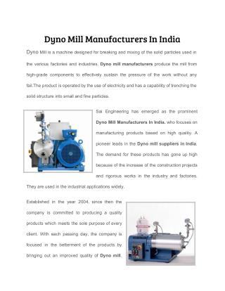 Dyno Mill Manufacturers In India