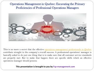Operations Management in Quebec: Excavating the Primary Proficiencies of Professional Operations Managers