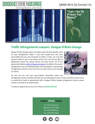 Traffic Infringements Lawyers- Doogue O'Brien George