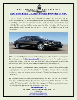 New York Limo US, Best Service Provider in NYC
