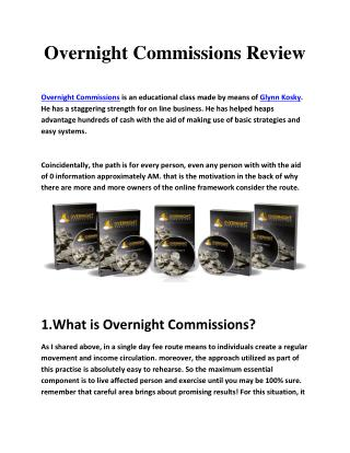 Overnight Commissions Review