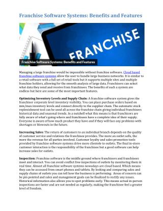 Franchise Software Systems: Benefits and Features