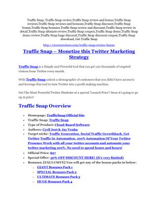 Traffic Snap Review - SECRET of Traffic Snap