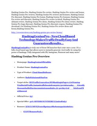 Hashtag Genius Pro review-(SHOCKED) $21700 bonuses