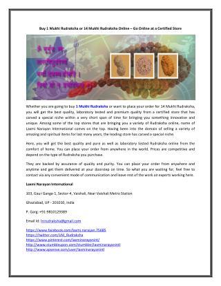 Buy 1 Mukhi Rudraksha or 14 Mukhi Rudraksha Online – Go Online at a Certified Store