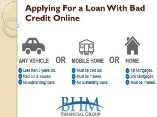 Applying For a Loan With Bad Credit Online