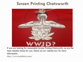 Screen Printing Service Chatsworth, CA