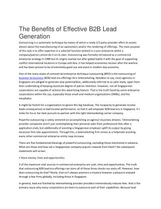 Benefits of B2B Lead Generation