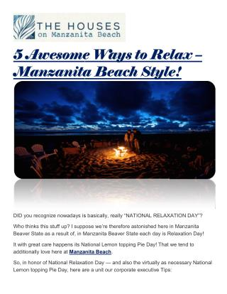 5 Awesome Ways to Relax – Manzanita Beach Style!
