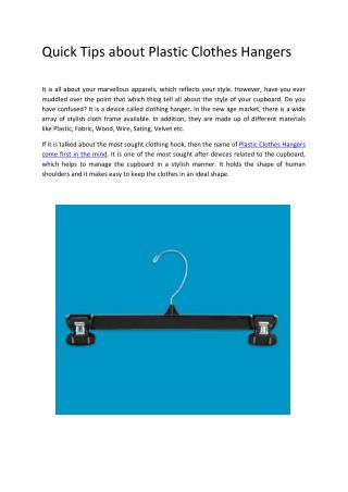 Quick Tips about Plastic Clothes Hangers