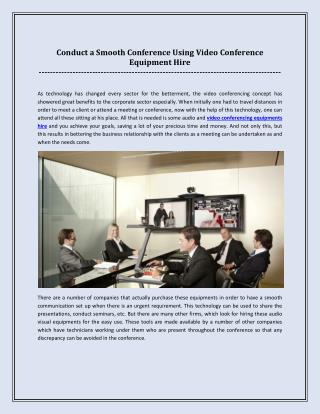 Conduct a Smooth Conference Using Video Conference Equipment Hire