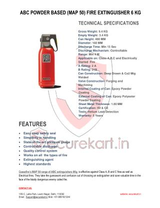 CEASEFIRE  ABC POWDER BASED MAP-50 FIRE EXTINGUISHER - 6 KG SPECIFICATIONS