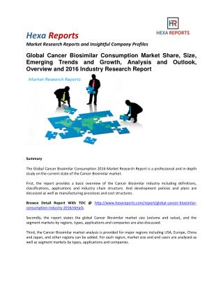 Cancer Biosimilar Consumption Market Share, Size, Trends and Growth To 2020