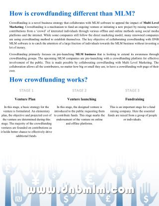 How is crowdfunding different than MLM? dnbmlmsoftwaresolutions