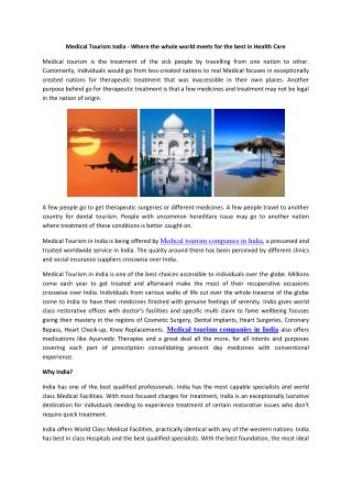 Medical Tourism India - Where the whole world meets for the best in Health Care