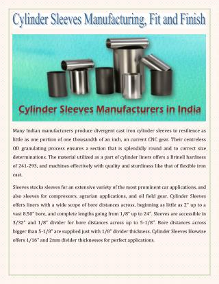 Cylinder Sleeves Manufacturing, Fit and Finish