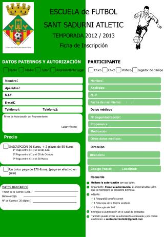 ESCUELA de FUTBOL SANT SADURNI ATLETIC TEMPORADA 2012