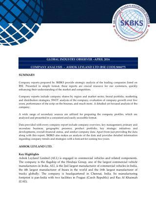 Company Analysis - ASHOK LEYLAND LTD (BSE CODE:500477)