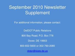 September 2010 Newsletter Supplement