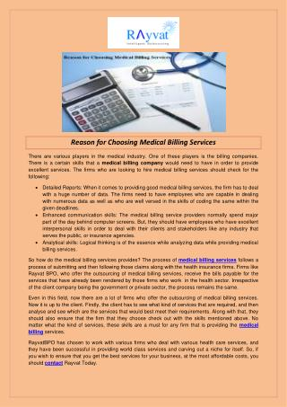 Reason for Choosing Medical Billing Services