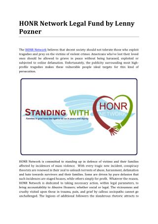 HONR Network Legal Fund Created by Lenny Pozner