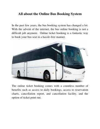 All about the Online Bus Booking System