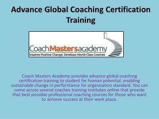 Advance Global Coaching Certification Training