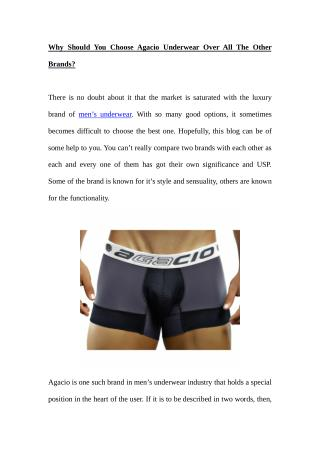 Why Should You Choose Agacio Underwear Over All The Other Brands?