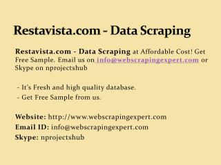 Restavista.com - Data Scraping