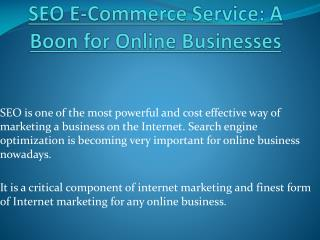 SEO & E-Commerce Services Benefits For Online Business
