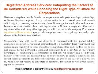 Registered Address Services: Catapulting the Factors to Be Considered While Choosing the Right Type of Office for Corpor