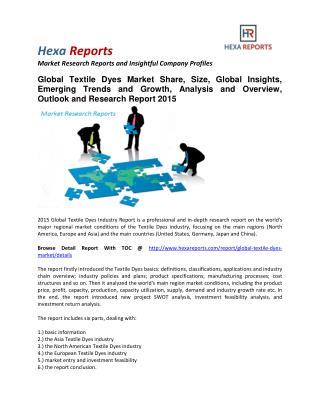 Textile Dyes Market Share, Size, Overview, Outlook and Research Report 2015