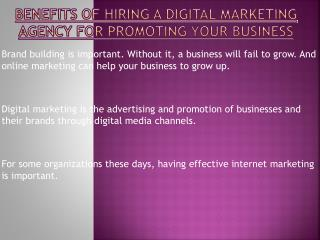 Tremendous Benefits of Hiring a Digital Marketing Agency