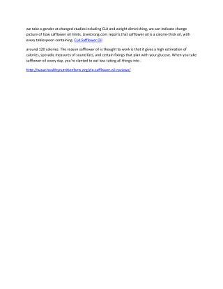 http://www.healthynutritionfacts.org/cla-safflower-oil-reviews/