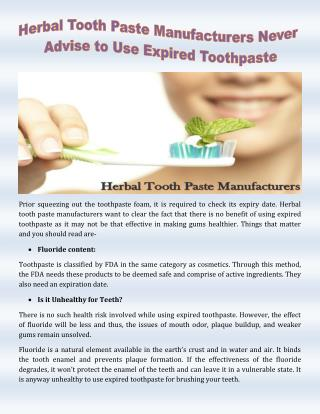 Herbal Tooth Paste Manufacturers Never Advise to Use Expired Toothpaste