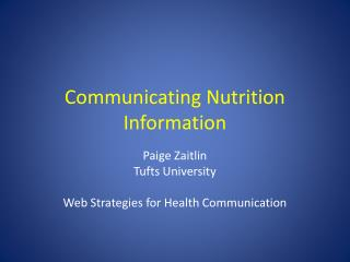 Communicating Nutrition Information