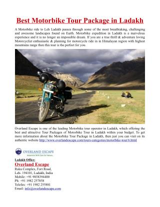 Best Motorbike Tour Package in Ladakh