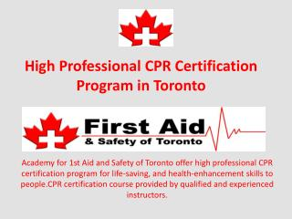 High Professional CPR Certification Program in Toronto