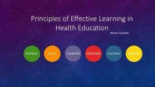 Steven Cavellier | Principles of Effective Learning in Health Education