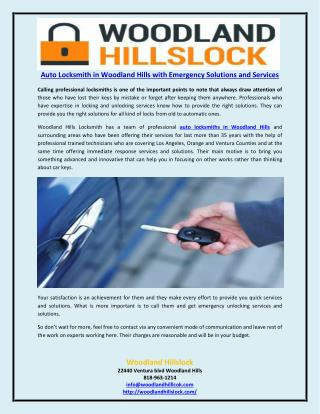Auto Locksmith in Woodland Hills with Emergency Solutions and Services