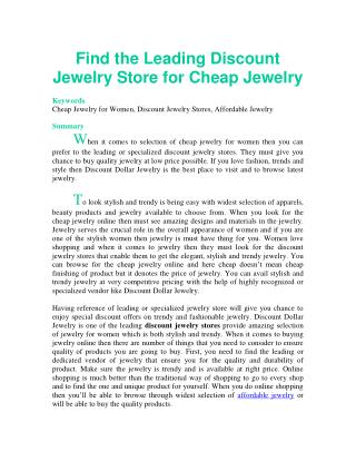 Find the Leading Discount Jewelry Store for Cheap Jewelry