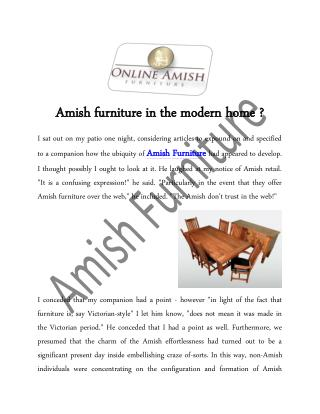 Amish furniture in the modern home ?