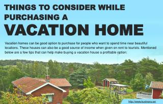 Few tips to remember before purchasing vacation homes