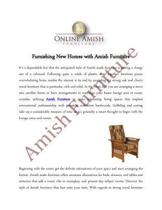 Furnishing New Homes with Amish Furniture