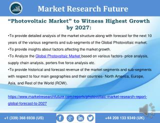Photovoltaic Market: 2016 World Market Outlook and Forecast up to 2027